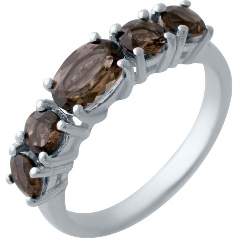 Серебряное кольцо SilverBreeze с натуральным раухтопазом (димчатим кварцем) (2025436) 18 размер