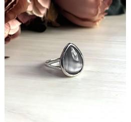 Серебряное кольцо SilverBreeze с кошачим глазом (2026310) 17.5 размер