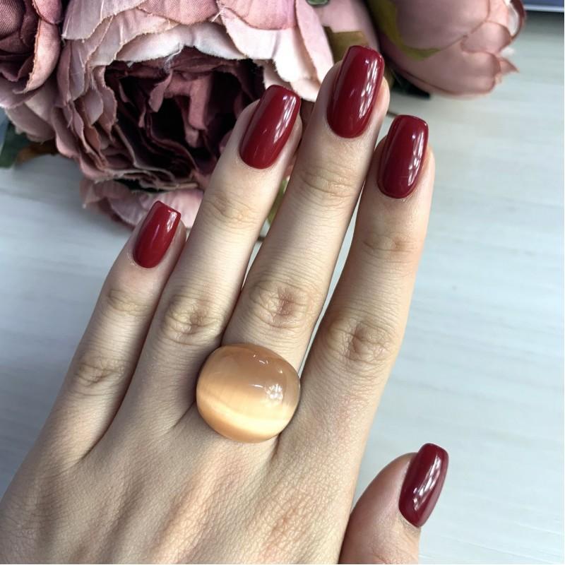 Серебряное кольцо SilverBreeze с кошачим глазом (2026464) 17 размер