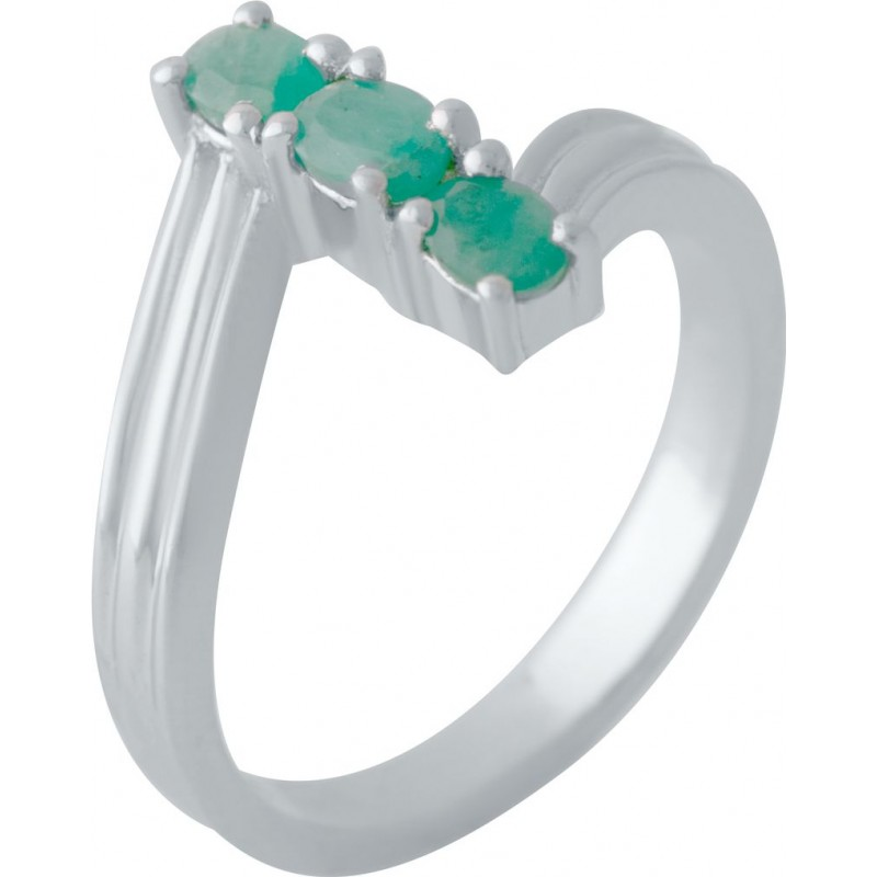 Серебряное кольцо SilverBreeze с натуральным изумрудом (2027546) 16.5 размер