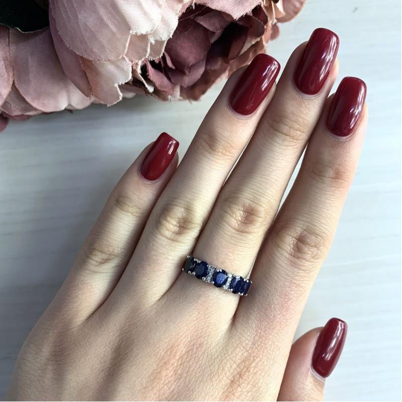 Серебряное кольцо SilverBreeze с натуральным сапфиром (2030195) 18 размер