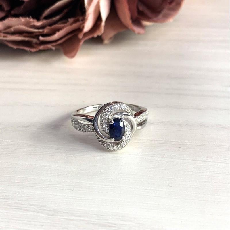 Серебряное кольцо SilverBreeze с натуральным сапфиром (2030218) 18 размер