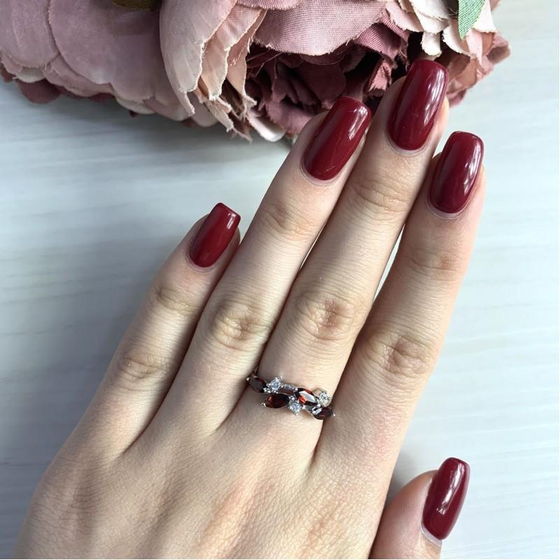 Серебряное кольцо SilverBreeze с натуральным гранатом (2030744) 18.5 размер