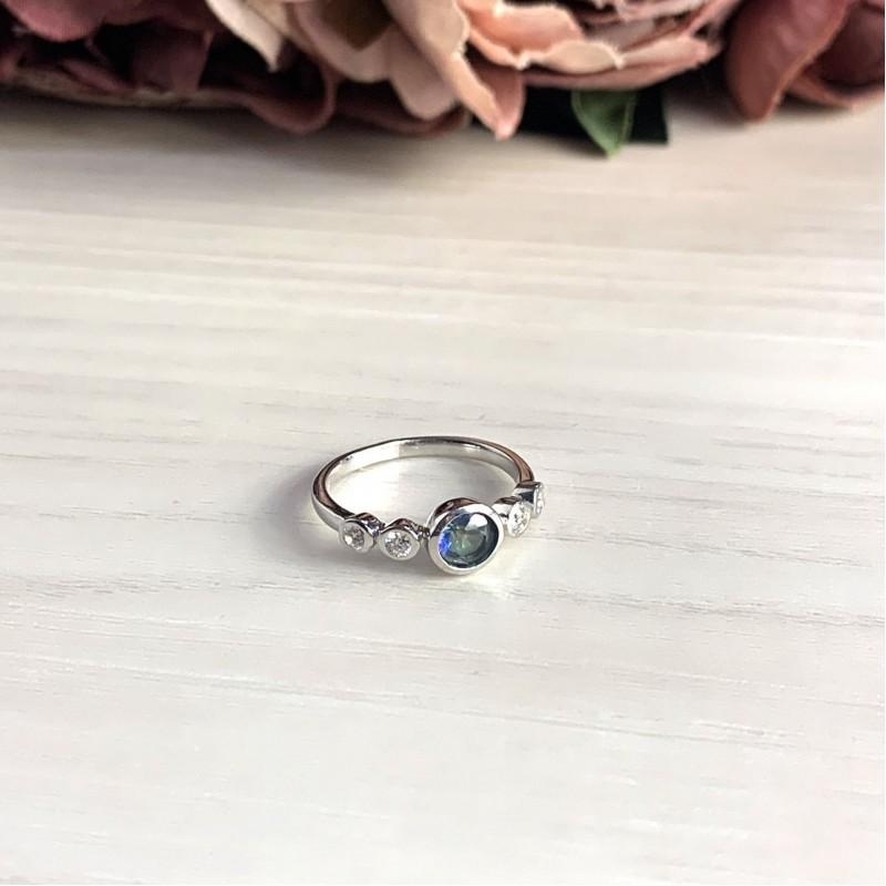 Серебряное кольцо SilverBreeze с натуральным мистик топазом (2032083) 17.5 размер