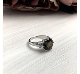 Серебряное кольцо SilverBreeze с натуральным раухтопазом (димчатим кварцем) (2033318) 19 размер