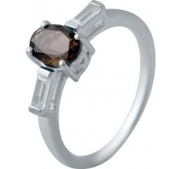 Серебряное кольцо SilverBreeze с натуральным раухтопазом (димчатим кварцем) (2033455) 17 размер