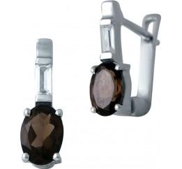 Серебряные серьги SilverBreeze с натуральным раухтопазом (димчатим кварцем) (2033462)