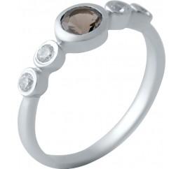 Серебряное кольцо SilverBreeze с натуральным раухтопазом (димчатим кварцем) (2033530) 17.5 размер