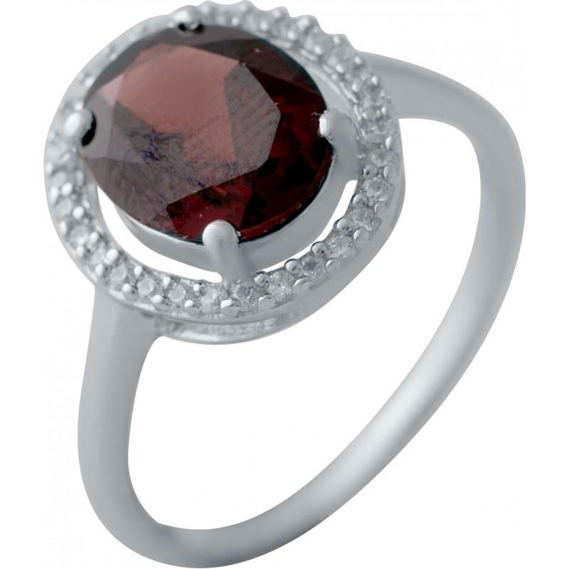 Серебряное кольцо SilverBreeze с натуральным гранатом (2035015) 18 размер