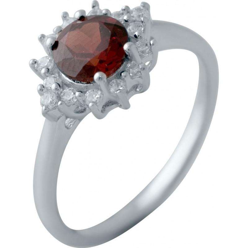 Серебряное кольцо SilverBreeze с натуральным гранатом (2035077) 17.5 размер