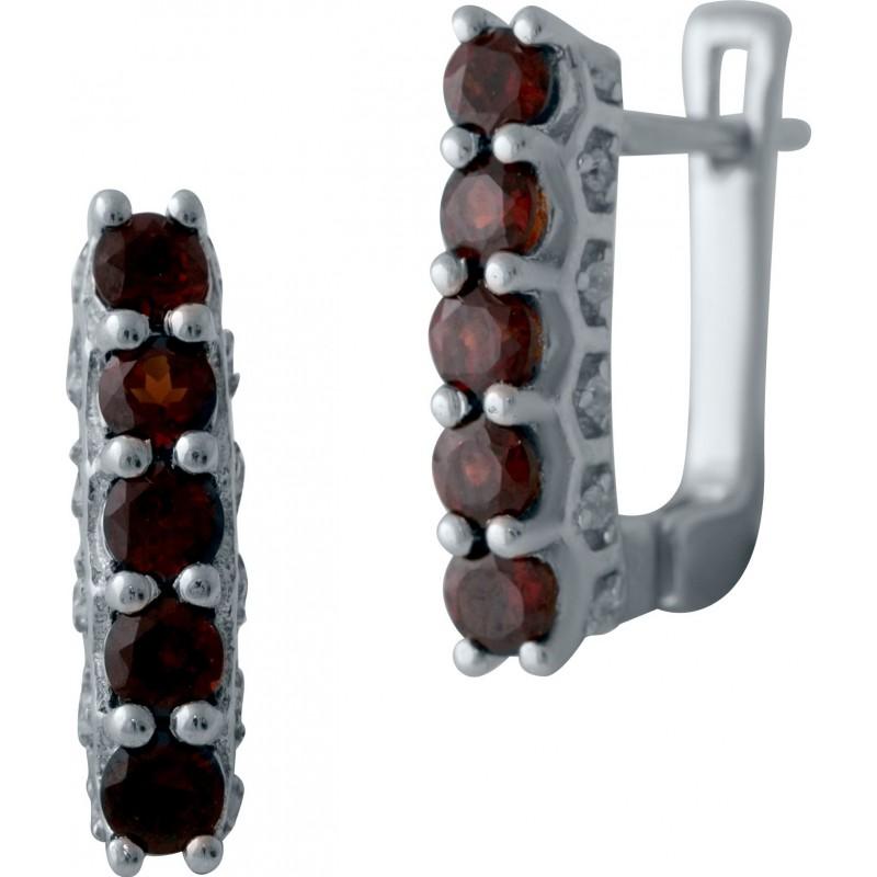 Серебряные серьги SilverBreeze с натуральным гранатом (2035145)