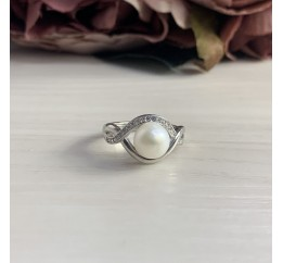 Серебряное кольцо SilverBreeze с натуральным жемчугом (2035510) 17 размер