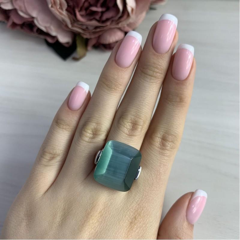 Серебряное кольцо SilverBreeze с кошачим глазом (2040880) 18.5 размер