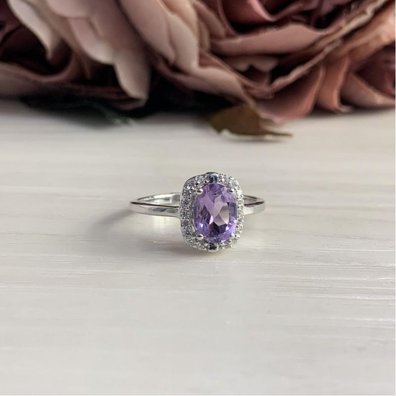 Серебряное кольцо SilverBreeze с натуральным аметистом (2043041) 17.5 размер