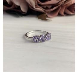 Серебряное кольцо SilverBreeze с натуральным аметистом (2043119) 17.5 размер