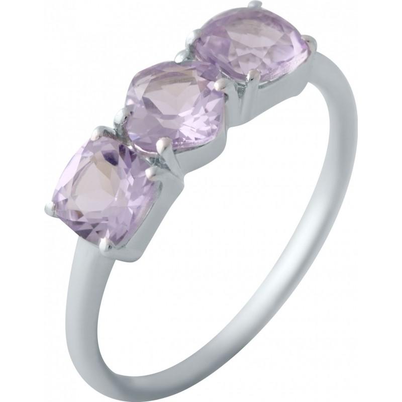 Серебряное кольцо SilverBreeze с натуральным аметистом (2043119) 18 размер