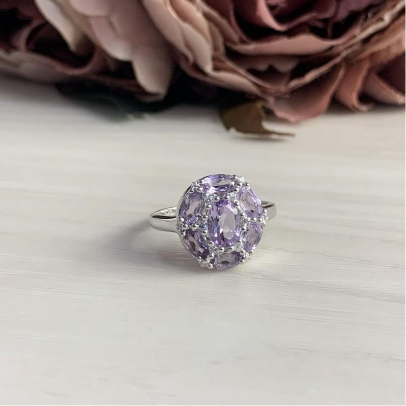 Серебряное кольцо SilverBreeze с натуральным аметистом (2043133) 18 размер