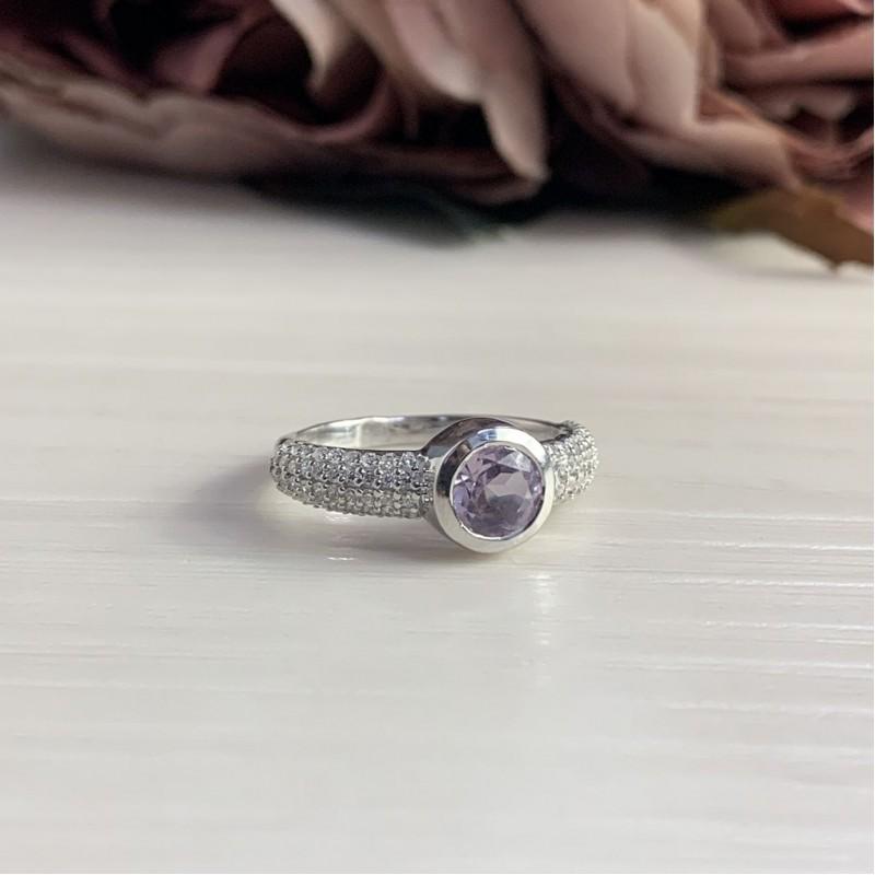 Серебряное кольцо SilverBreeze с натуральным аметистом (2043188) 16.5 размер