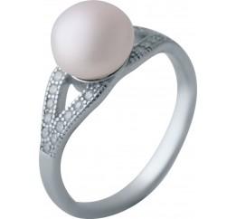 Серебряное кольцо SilverBreeze с натуральным жемчугом (2038092) 16.5 размер