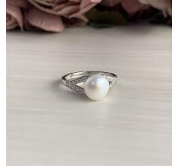 Серебряное кольцо SilverBreeze с натуральным жемчугом (2038092) 17 размер