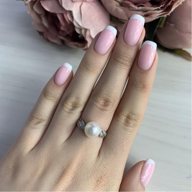 Серебряное кольцо SilverBreeze с натуральным жемчугом (2041252) 17 размер