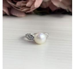 Серебряное кольцо SilverBreeze с натуральным жемчугом (2041252) 18 размер