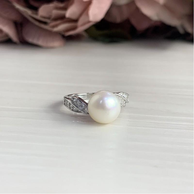Серебряное кольцо SilverBreeze с натуральным жемчугом (2041252) 19 размер