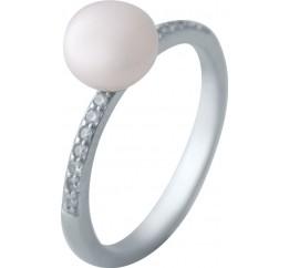 Серебряное кольцо SilverBreeze с натуральным жемчугом (2041269) 18.5 размер
