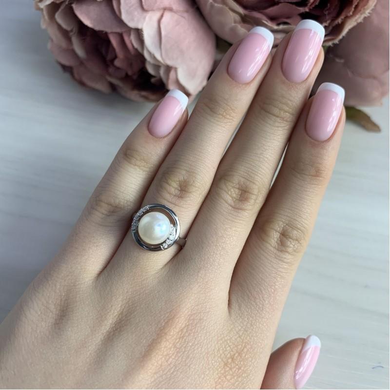 Серебряное кольцо SilverBreeze с натуральным жемчугом (2041283) 16.5 размер
