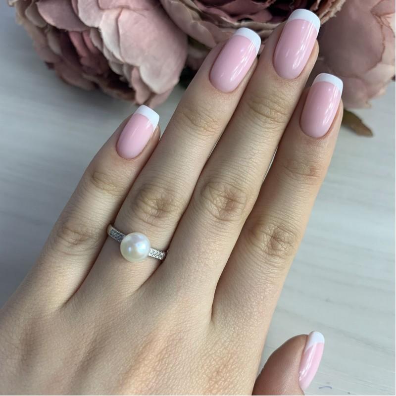 Серебряное кольцо SilverBreeze с натуральным жемчугом (2041368) 17 размер