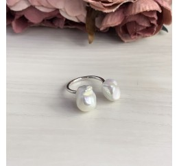 Серебряное кольцо SilverBreeze с натуральным жемчугом барочным (2041931) 17.5 размер