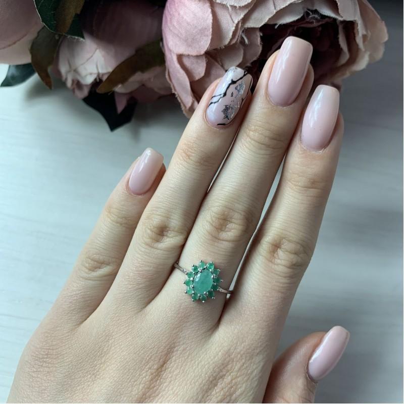 Серебряное кольцо SilverBreeze с натуральным изумрудом (2043386) 17 размер