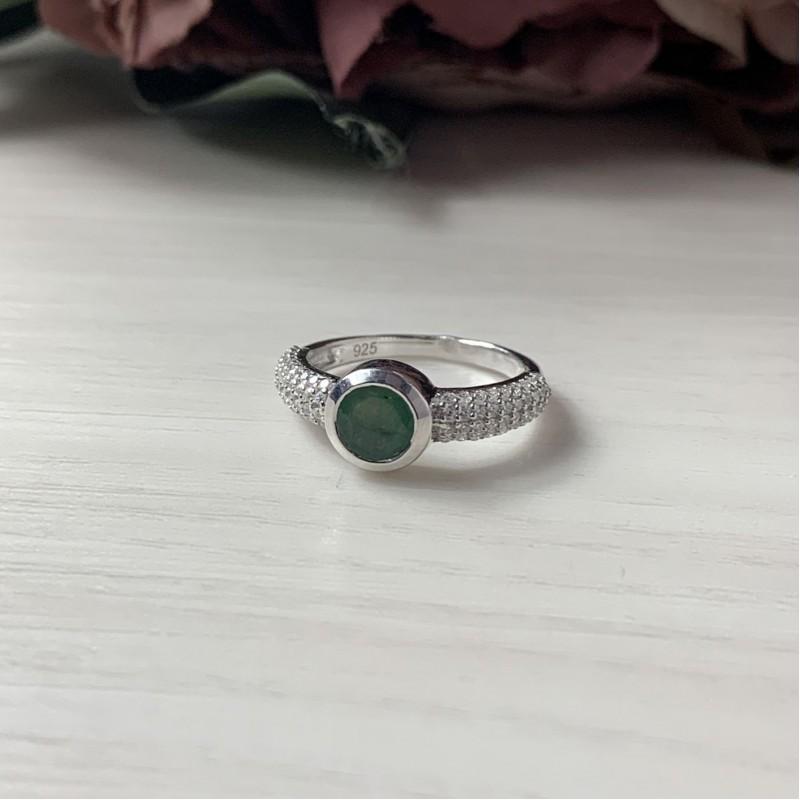 Серебряное кольцо SilverBreeze с натуральным изумрудом (2043430) 16.5 размер