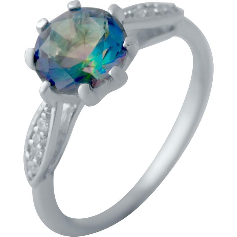 Серебряное кольцо SilverBreeze с натуральным мистик топазом (2043799) 18 размер