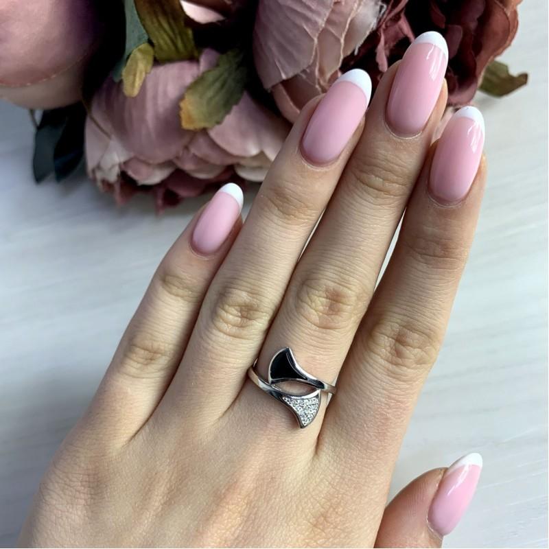Серебряное кольцо SilverBreeze с натуральным ониксом (2038474) 16 размер