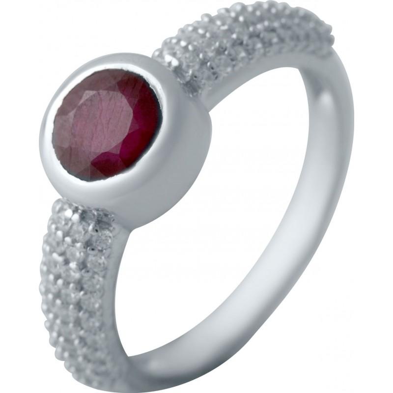 Серебряное кольцо SilverBreeze с натуральным рубином, фианитами (2041016) 16.5 размер
