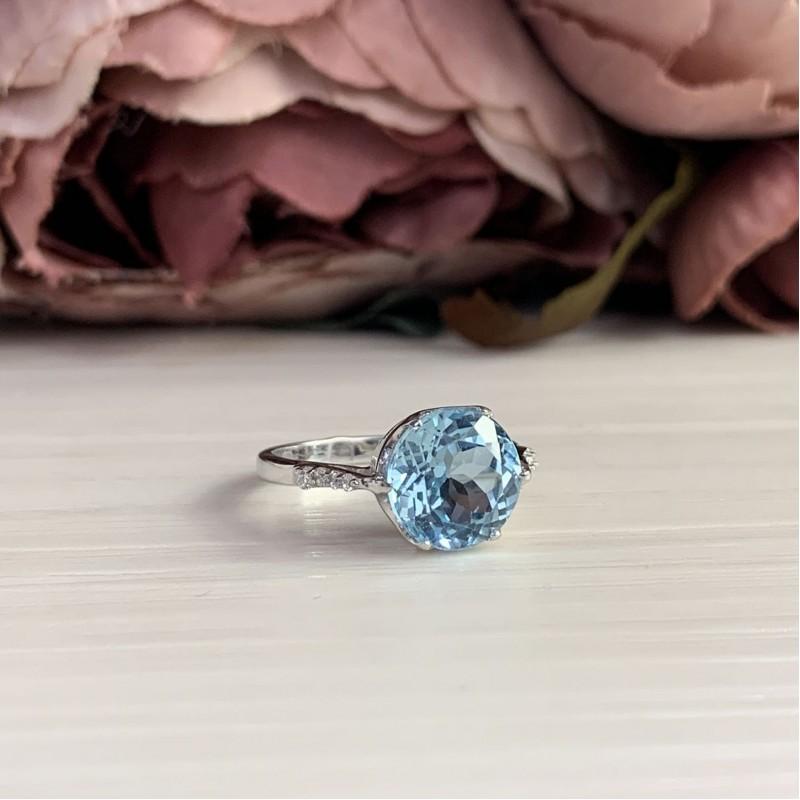 Серебряное кольцо SilverBreeze с натуральным топазом (2042457) 18 размер