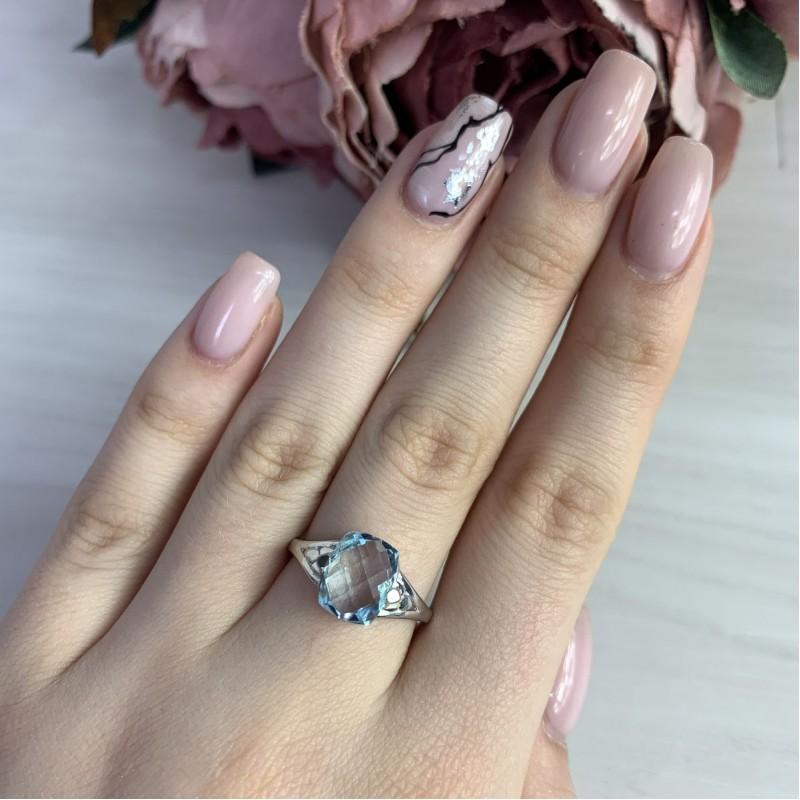 Серебряное кольцо SilverBreeze с натуральным топазом (2042488) 17.5 размер