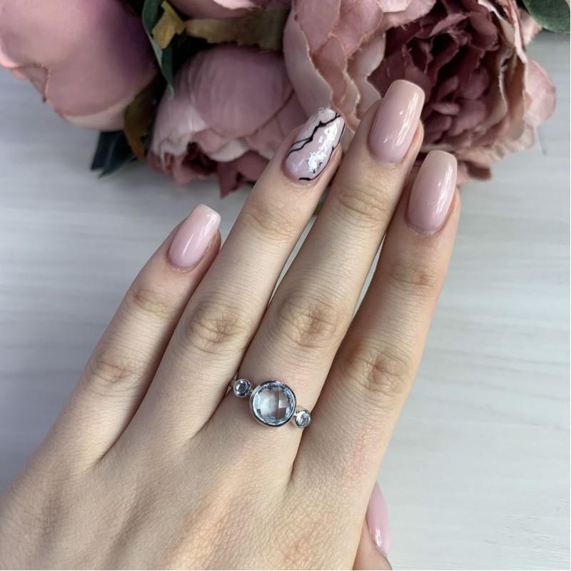 Серебряное кольцо SilverBreeze с натуральным топазом (2042501) 17.5 размер