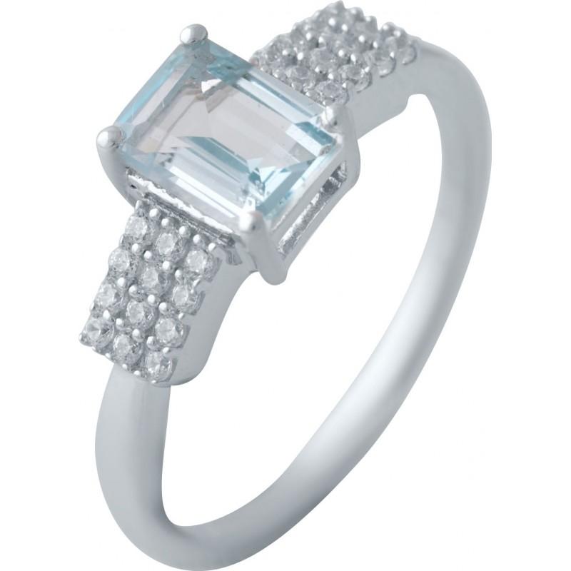 Серебряное кольцо SilverBreeze с натуральным топазом (2042693) 17 размер