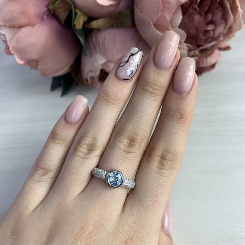 Серебряное кольцо SilverBreeze с натуральным топазом (2042716) 16.5 размер