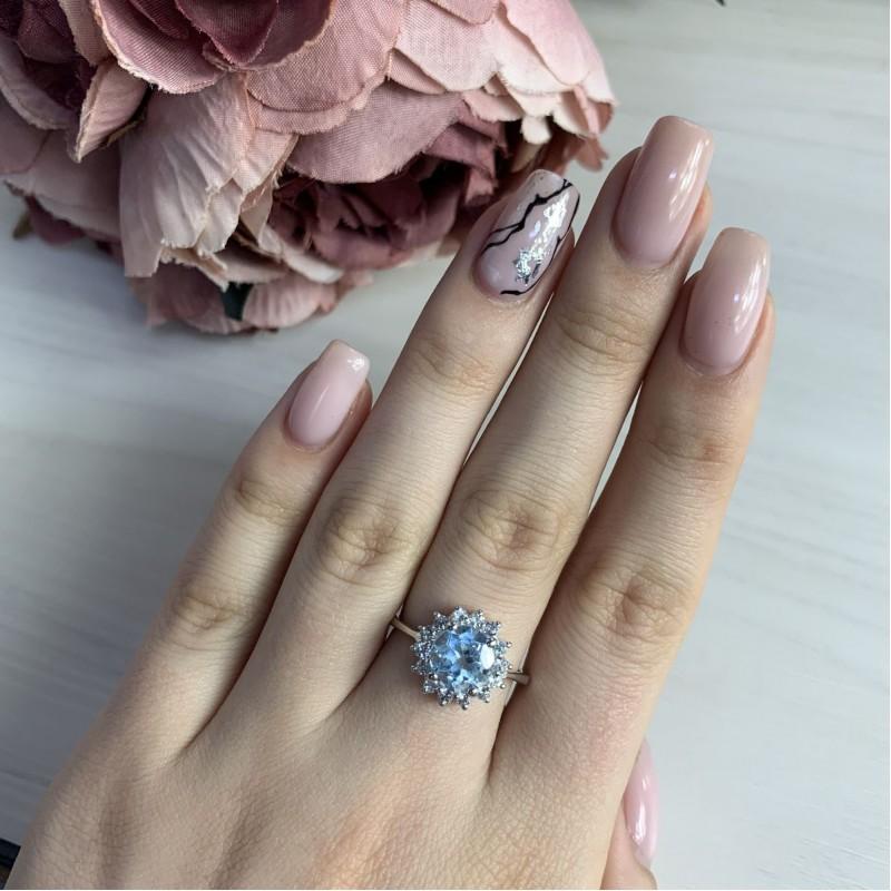 Серебряное кольцо SilverBreeze с натуральным топазом (2043928) 17 размер