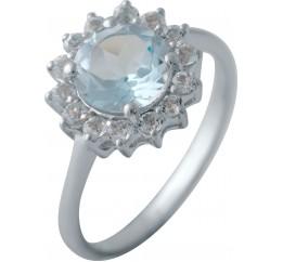 Серебряное кольцо SilverBreeze с натуральным топазом (2043928) 17.5 размер