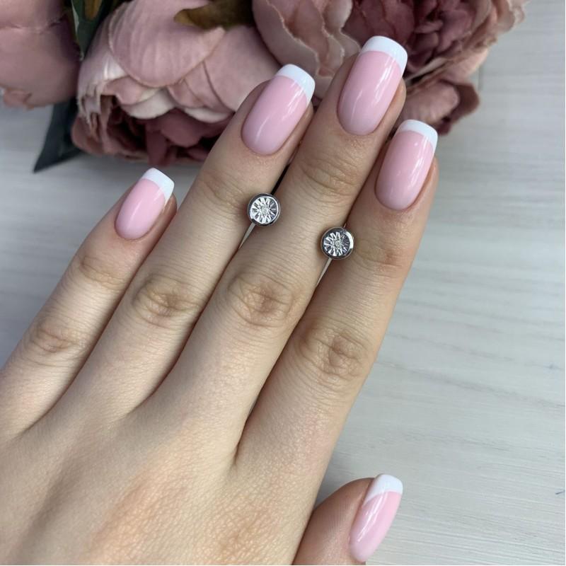 Серебряные серьги SilverBreeze с натуральными бриллиантом (2043690)