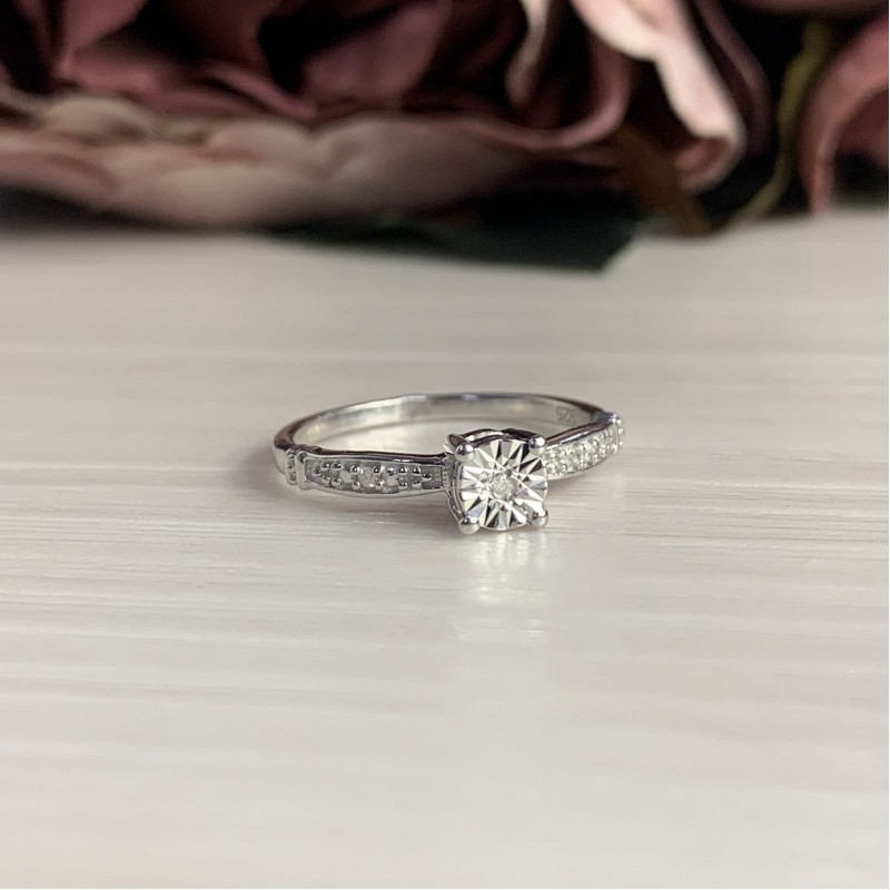 Серебряное кольцо SilverBreeze с натуральными бриллиантом (2043652) 17 размер