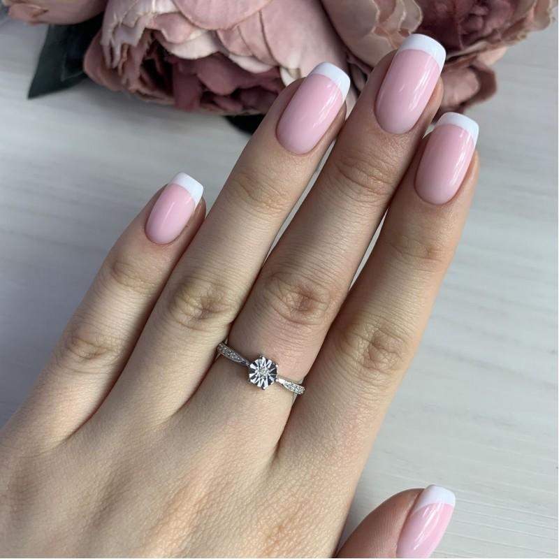 Серебряное кольцо SilverBreeze с натуральными бриллиантом (2043645) 16 размер