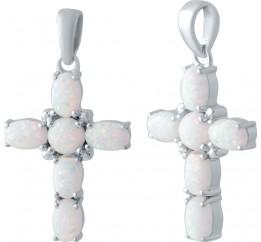 Серебряный крестик SilverBreeze с опалом (2043614)