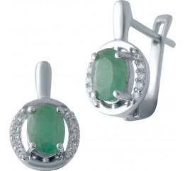 Серебряные серьги SilverBreeze с натуральным изумрудом (2043379)