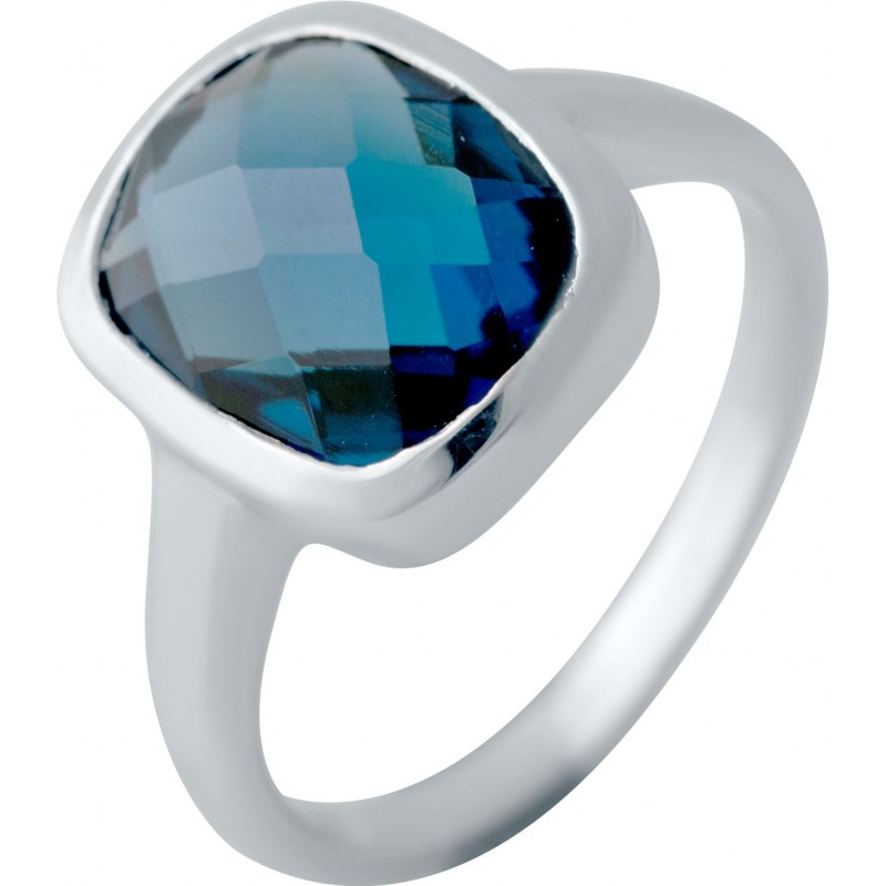 Серебряное кольцо SilverBreeze с натуральным топазом Лондон Блю (2043294) 18 размер