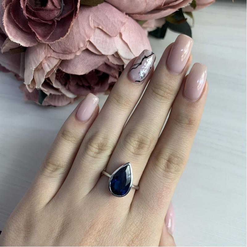 Серебряное кольцо SilverBreeze с натуральным топазом Лондон Блю (2043270) 17 размер